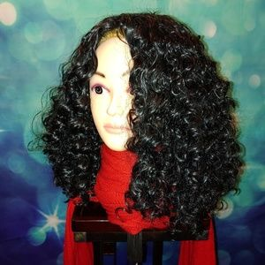Curly medium length black wig no bangs qt300